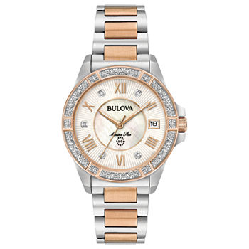 Bulova Marine Star Womens Diamond Accent Two Tone Bracelet Watch - 98r234