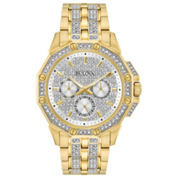 Bulova Mens Gold Tone Bracelet Watch 98c126
