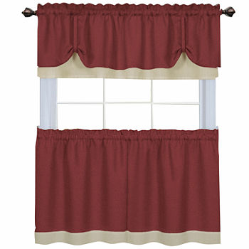 24 Inch Red Kitchen Curtains For Window
