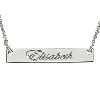 Personalized 4x26mm Script Name Bar Necklace