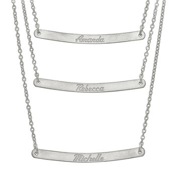 Personalized Sterling Silver 3-pc. Name Bar Necklace