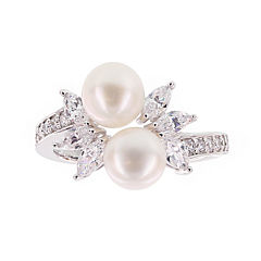 Diamonart® Cultured Freshwater Pearl and Cubic Zirconia Sterling Silver Star Ring