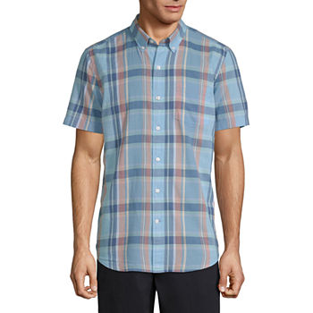 St. John's Bay Mens Short Sleeve Plaid Button-Down Shirt