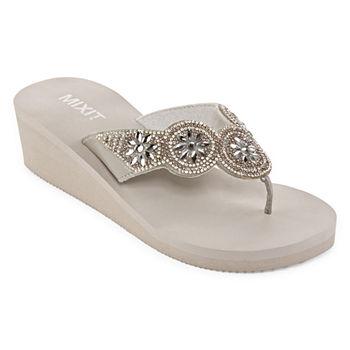 a4f4633bcbef4 Mixit Black Women s Sandals   Flip Flops for Shoes - JCPenney