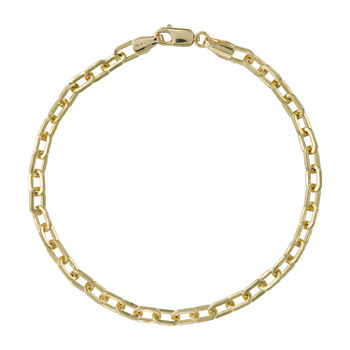 Made in Italy 14K Gold 7.5 Inch Semisolid Link Chain Bracelet
