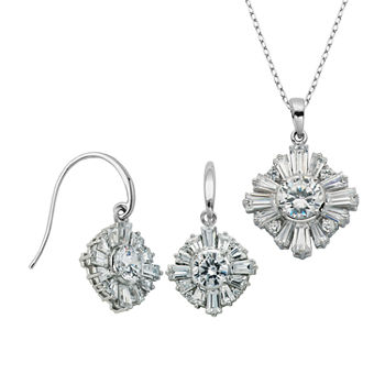 100 Facets by DiamonArt® Cubic Zirconia Drop Earrings and Necklace