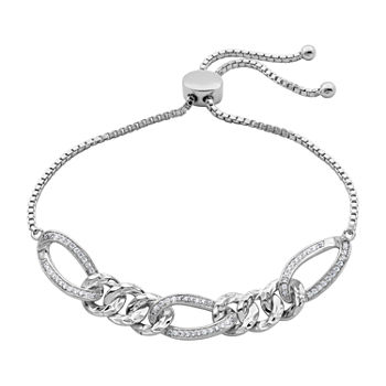 DiamonArt® Lab Created White Cubic Zirconia Sterling Silver Bolo Bracelet