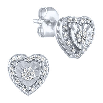 Limited Time Special! 1/10 CT. T.W. Genuine Diamond Sterling Silver 8.1mm Heart Stud Earrings