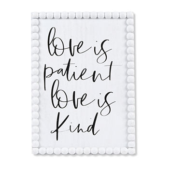 10x14 Love is Patient Beaded Wall Sign