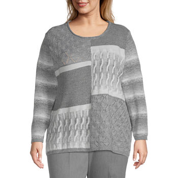 Alfred Dunner Plus Glacier Lake Womens Round Neck Long Sleeve Pullover Sweater