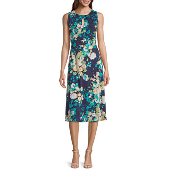 London Style Sleeveless Floral Midi Fit & Flare Dress