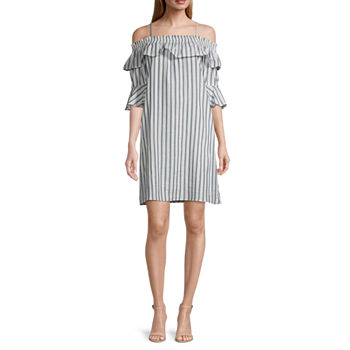 Vivi By Violet Weekend 3/4 Sleeve Cold-Shoulder Striped Shift Dress