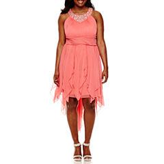 My Michelle® Embellished Halter Hi Lo Dress - Juniors Plus