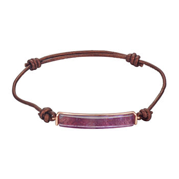 Footnotes Amethyst Healing Stone Silver Over Brass 8 1/2 Inch Link Bolo Bracelet