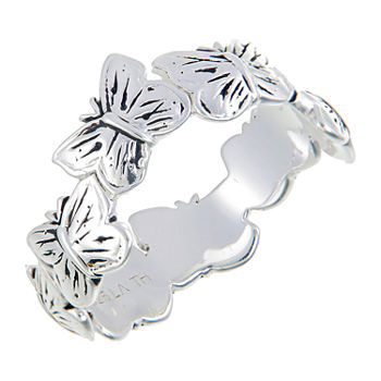 Footnotes Live Life Sterling Silver Butterfly Band