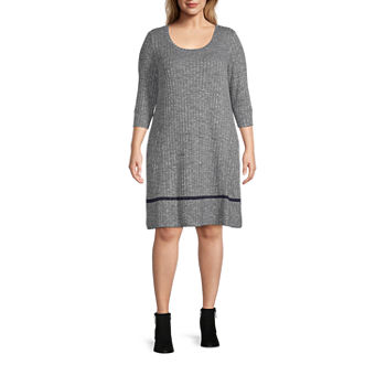 Chris Mclaughlin-Plus 3/4 Sleeve Shift Dress