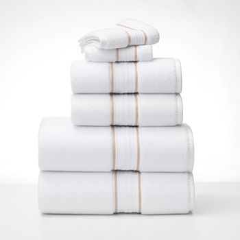 Fieldcrest Luxury Egyptian Cotton Loops Border Stripe Bath Towel