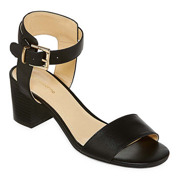 Merona Black Strap Heels Women's Shoes Open Toe Shiny Size 9