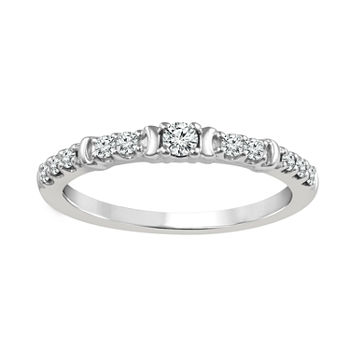 1/4 CT. T.W. Genuine White Diamond Sterling Silver Wedding Band