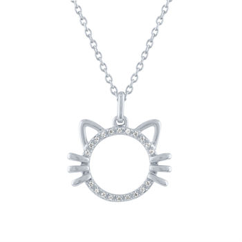 """Loyal"" Womens Diamond Accent Genuine White Diamond Sterling Silver Pendant Necklace"