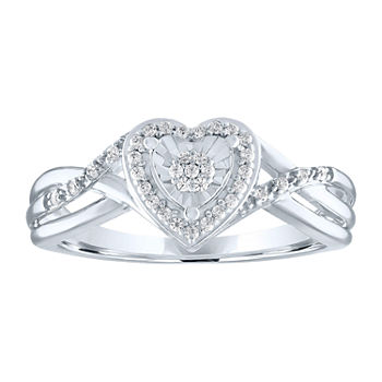 Limited Time Special! Womens 1/10 CT. T.W. Genuine Diamond Sterling Silver Heart Cocktail Ring