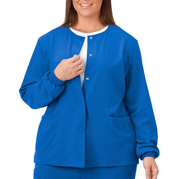 Jockey 2356 Women's Round Neckline Snap Scrub Jacket - Plus
