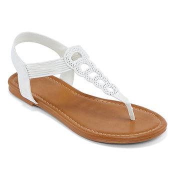 b102b09f145d Flat Sandals White Women s Sandals   Flip Flops for Shoes - JCPenney