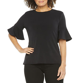 Worthington Womens Crew Neck Ruffle Blouse - Tall