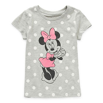 Disney Little & Big Girls Crew Neck Minnie Mouse Short Sleeve Graphic T-Shirt