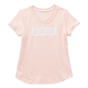 Xersion Little & Big Girls V Neck Short Sleeve Graphic T-Shirt