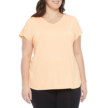 Xersion Womens Plus V Neck Short Sleeve T-Shirt