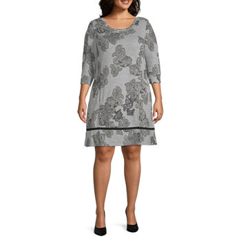 Chris Mclaughlin-Plus 3/4 Sleeve Paisley Shift Dress