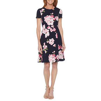 Jessica Howard Short Sleeve Floral Fit & Flare Dress
