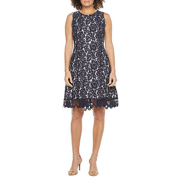 Donna Ricco Sleeveless Floral Bonded Lace Fit & Flare Dress