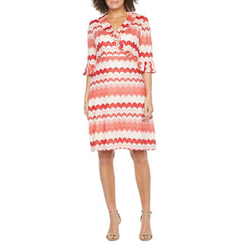 Donna Ricco 3/4 Sleeve Striped Fit & Flare Dress