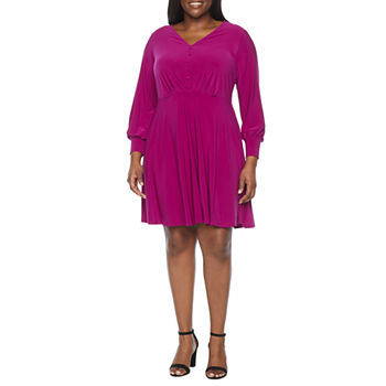 Tiana B-Plus Long Sleeve Fit & Flare Dress