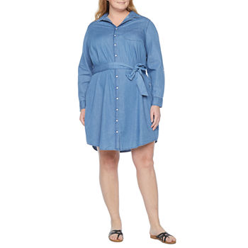 St. John's Bay-Plus Long Sleeve Shirt Dress