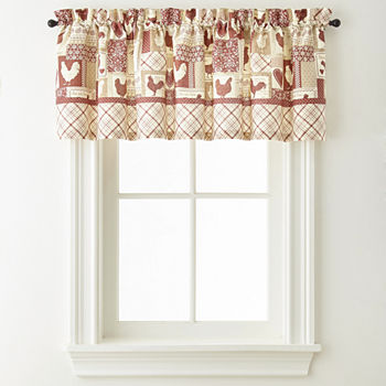 Home Expressions Rooster Round Up Rod-Pocket Kitchen Valance