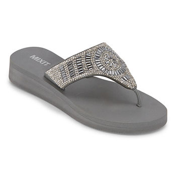 Mixit Womens Bling Hood Wedge Flip-Flops
