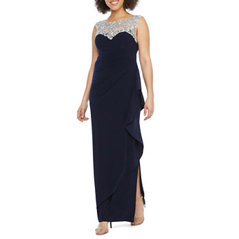 S. L. Fashions Sleeveless Embroidered Evening Gown