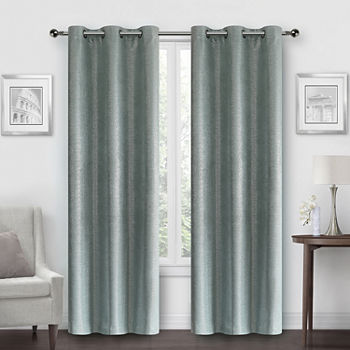 Regal Home Speckle Metallic Energy Saving Blackout Grommet-Top Set of 2 Curtain Panel