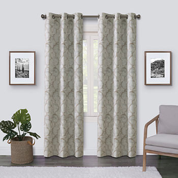 Maxx Blackout Emerson Scroll 100% Blackout Grommet-Top Single Curtain Panel