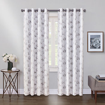 Maxx Blackout Mystique Embroidered 100% Blackout Grommet-Top Single Curtain Panel