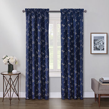 Maxx Blackout Mystique Embroidered 100% Blackout Rod-Pocket Single Curtain Panel