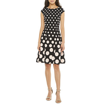 London Style Short Sleeve Dots Fit & Flare Dress