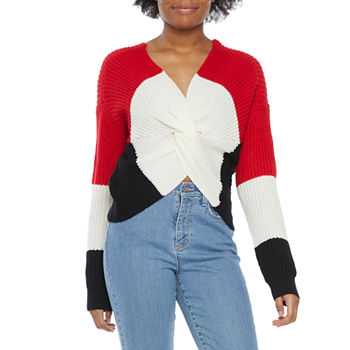 Almost Famous-Juniors Womens V Neck Long Sleeve Pullover Sweater
