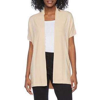 Liz Claiborne Womens Short Sleeve Open Front Cardigan