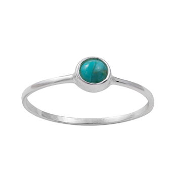 Itsy Bitsy Sterling Silver Simulated Turquoise Ring