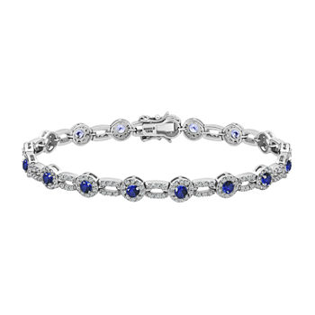 DiamonArt® 4 CT. T.W. Multi Color Stone Sterling Silver 7.25 Inch Tennis Bracelet