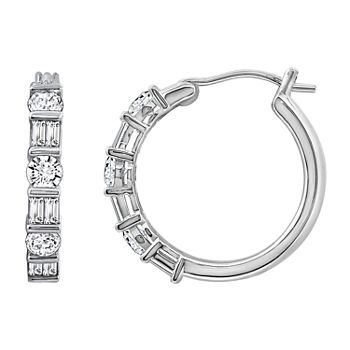 DiamonArt® 1 1/3 CT. T.W. White Cubic Zirconia Sterling Silver Hoop Earrings